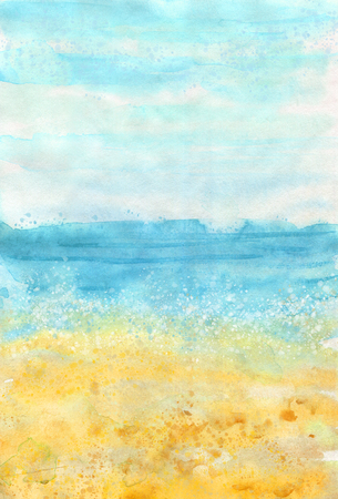 Watercolour vertical colorful beach background for summer design