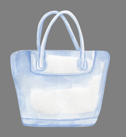 White watercolor beach bag template for design isolated on grey