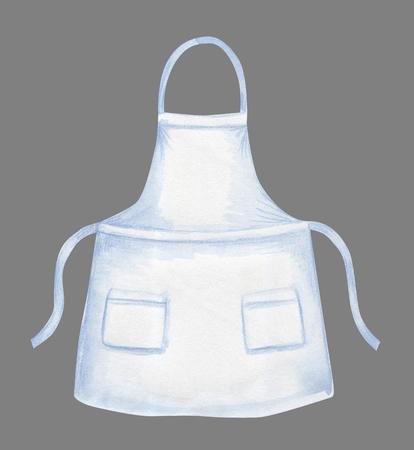 Biały fartuch akwarela szablon projektu na szarym tle
