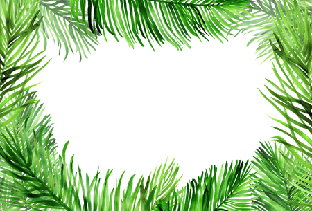 Watercolour horizontal frame with palm leaves on white Banco de Imagens - 121076218