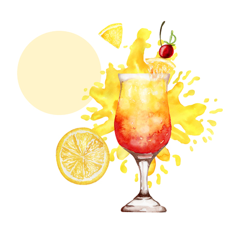 Bright poster with red and yellow cocktail and place for text