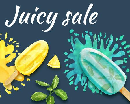 Juicy sale design with  on dark blue background