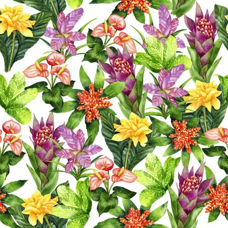 Aquarel heldere tropische naadloze patroon op wit