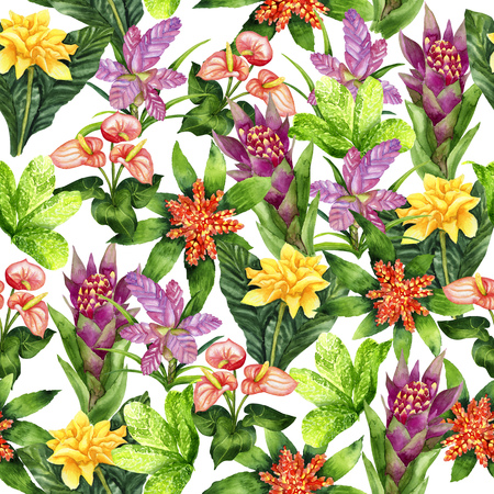 Watercolor bright tropical seamless pattern on white
