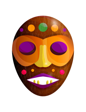 Colored african wooden mask with bright ornament isolated on white background. Vector illustration