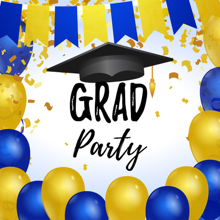 Grad party vector square template for social networks Фото со стока - 122692305