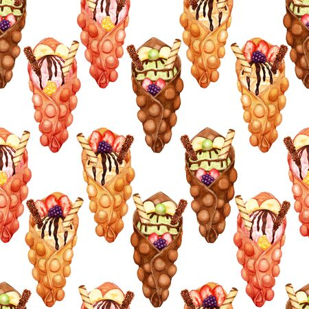 Watercolor pattern of sweet bubble waffles with ice cream and fresh fruits