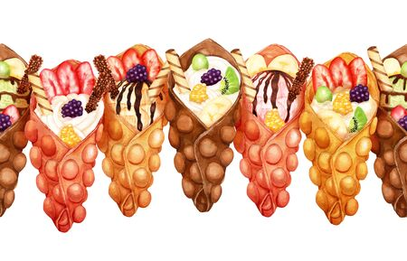 Watercolor stripe of sweet bubble waffles with cream and fresh fruits on white
