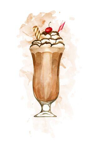 Watercolour chocolate milkshake hand drawn illustration on brown paint splashes Imagens