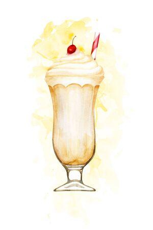 Watercolour vanilla milkshake hand drawn illustration on yellow paint splashes Imagens