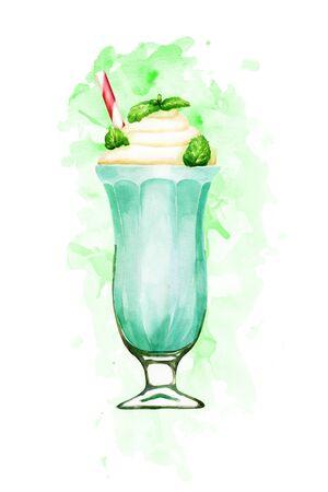 Watercolour mint milkshake hand drawn illustration on green paint splashes