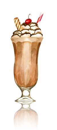 Watercolour sweet chocolate milkshake hand drawn illustration Imagens