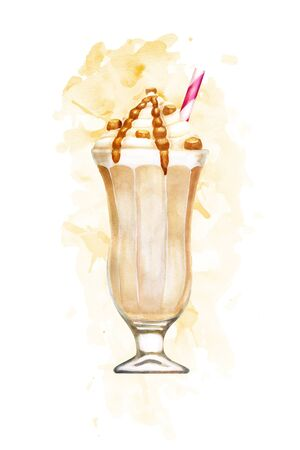 Watercolour caramel milkshake hand drawn illustration on pink paint splashes