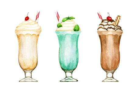 Watercolour set of hand drawn milkshakes isolated on white