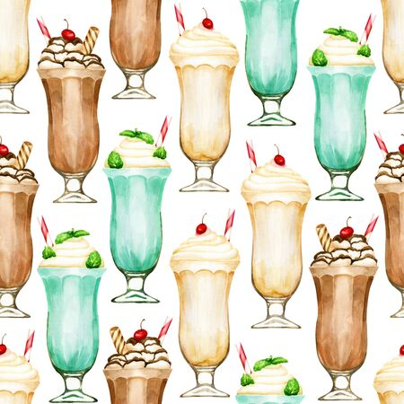 Watercolor seamless pattern with milkshakes on white