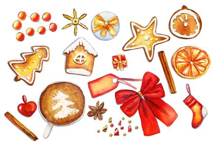 Cozy watercolor red and gold horizontal christmas composition with bakery and decorations on white background. Flat lay, top view Stockfoto