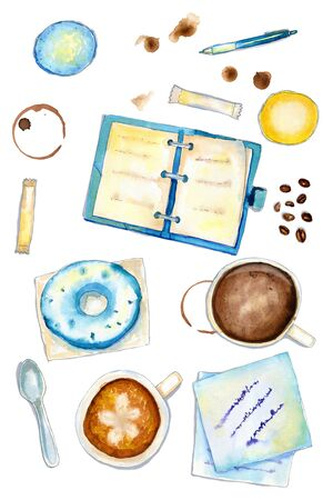 Cozy watercolor blue and brown vertical flatlay coffee composition with notes, dairy and cups on white background. Flat lay, top view