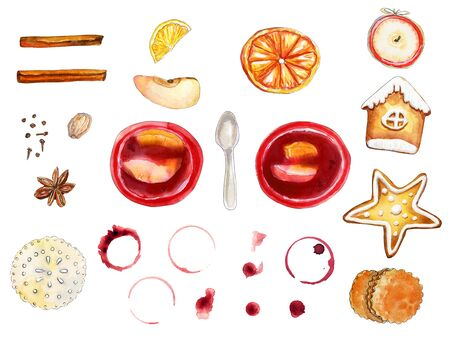 Watercolor flatlay red and brown mulled wine set isolated on white