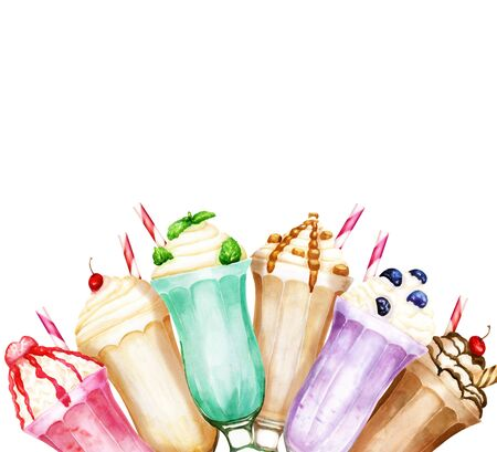 Watercolor background with sweet milkshakes on white Stock Photo