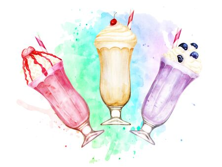 Watercolor composition of sweet vanilla, strawberry and blueberry milkshakes on paint splashes Stock Photo