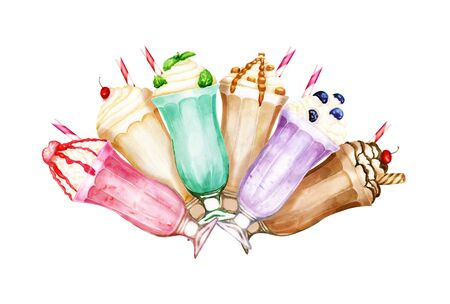 Watercolor composition of sweet milkshakes on white background