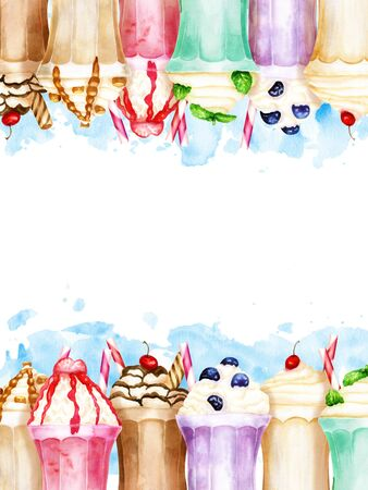 Watercolor vertical background with bright sweet milkshakes on blue paint splashes
