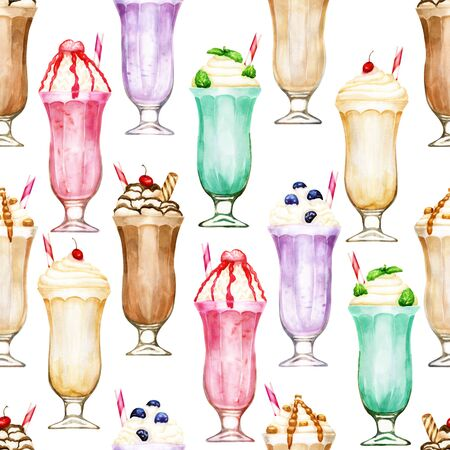 Watercolor seamless pattern with bright milkshakes on white Stock Photo