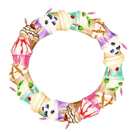 Watercolor wreath with bright sweet milkshakes on white