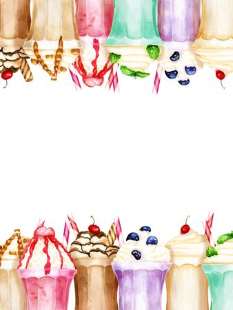 Watercolor vertical background with bright sweet milkshakes on white