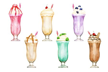 Watercolour set of six hand drawn sweet milkshakes isolated on white