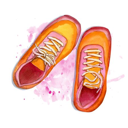 Hand drawn sketch of pair sneakers on pink watercolor background