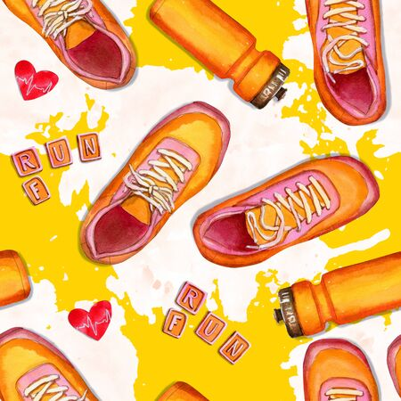 Fitness seamless pattern with sneakers and bottle on yellow background