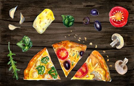Watercolor flatlay composition with pizza and ingredients on wooden background. Flat lay, top view of Italian fast food