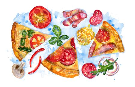 Watercolor hand drawn composition with pizza and ingredients on blue splattered background. Flat lay, top view of Italian fast food