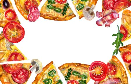 Watercolor hand drawn flatlay frame with pizza and ingredients on white background. Flat lay, top view of Italian fast food