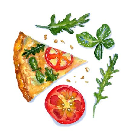 Watercolor flatlay composition of pizza margarita with cheese, tomato, basil and arugula on white background. Flat lay, top view of Italian fast food