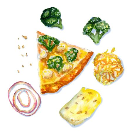 Watercolor flatlay composition of vegetarian pizza with cheese, broccoli, and mozzarella on white background. Flat lay, top view of Italian fast food Stock fotó