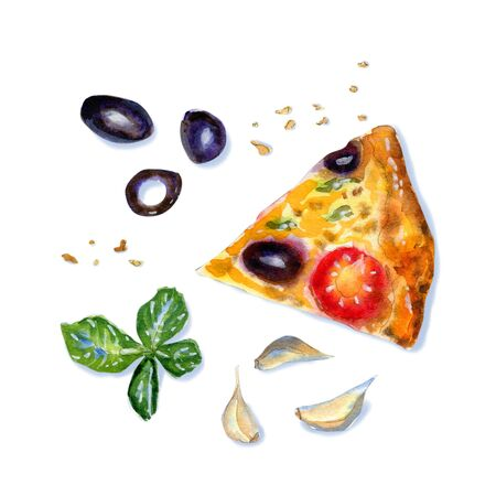 Watercolor flatlay composition of vegetarian pizza with cheese, olive, and tomato on white background. Flat lay, top view of Italian fast food