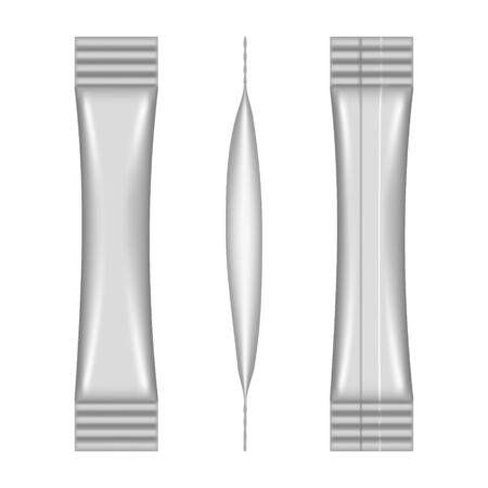 Sachet de bâton vierge réaliste isolé sur fond blanc. Maquette de pack vectoriel pour la conception de produits et l'image de marque. Papier alimentaire vierge, papier d'aluminium ou modèle d'emballage en plastique
