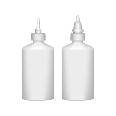 Realistic plastic glue bottle on white background