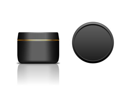 Black realistic plastic cosmetic jar for cream, scrub, gel or powder. Isolated vector illustration. Round glossy bottle with golden stripe on the lid. Front and top view of packaging mockup template.