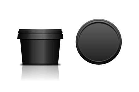 Black realistic plastic cosmetic jar for body of face cream, scrub. Isolated vector illustration. Round bottle with cap. Front and top view of packaging mockup template.