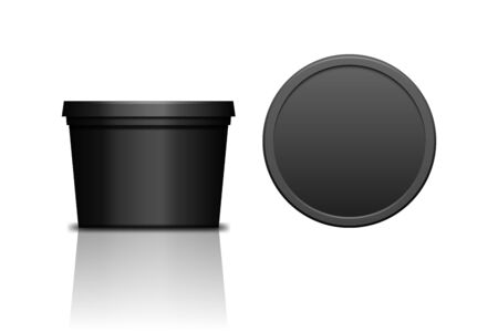 Simple black realistic plastic cosmetic jar for body of face cream, scrub. Isolated vector illustration. Round bottle with cap. Front and top view of packaging mockup template.