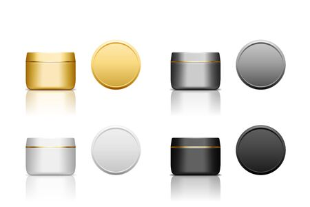 Set of realistic plastic cosmetic jar for cream, scrub, gel or powder.