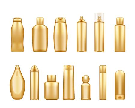 Gold cosmetic bottles mockups isolated on white background: shower gel, shampoo, lotion, spray. Plastic package design. Blank cosmetic, hygiene and skin care template. Set of 3d vector illustrations