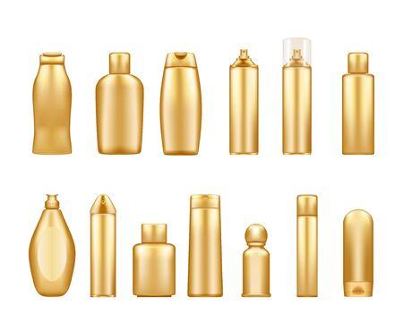 Maquettes de bouteilles cosmétiques dorées isolées sur fond blanc : gel douche, shampoing, lotion, spray. Conception d'emballage en plastique. Modèle vierge de cosmétiques, d'hygiène et de soins de la peau. Ensemble d'illustrations vectorielles 3d