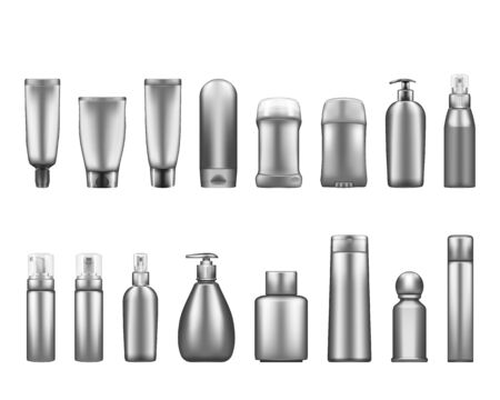 Silver cosmetic bottles mockups isolated on white background: lotion, cream, deodorant, spray. Plastic package design. Blank cosmetic, hygiene and skin care template. Set of 3d vector illustrations