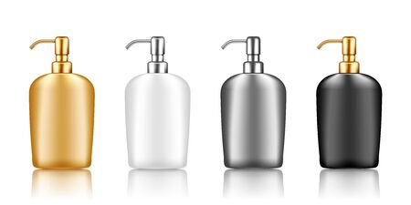 Pump bottle mockup with metallic cap: disinfectant, sanitizer, lotion