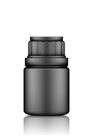 Black medicine pills or supplement bottle mockup isolated on white background