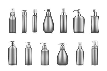Set of silver luxury pump bottle mockups: serum, moisturizer, lotion, soap, cream, sanitizer